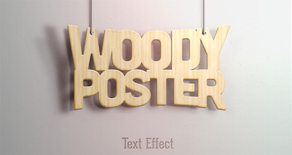 Free PSD Woody Text Effect
