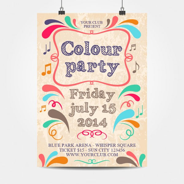 Free Vector Colour Party Hanging Mockup