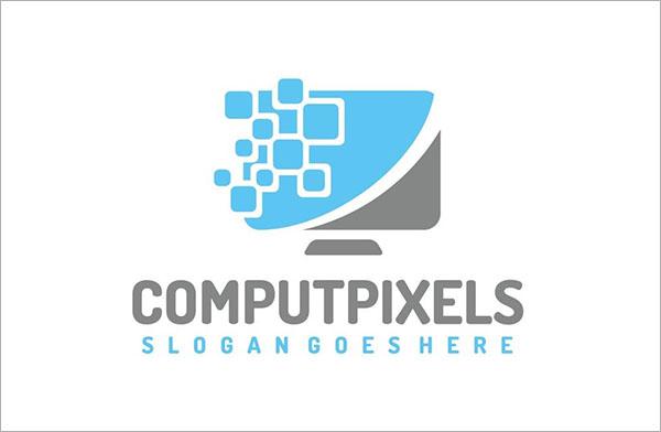 Free Vector Computer Pixels Logo