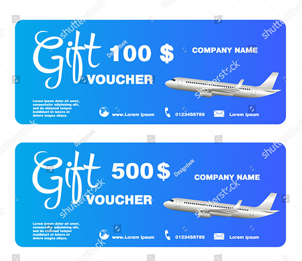 Gift Voucher For Trip With Airplane Vector