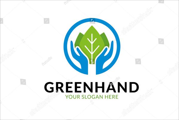 Green Hand Logo Template