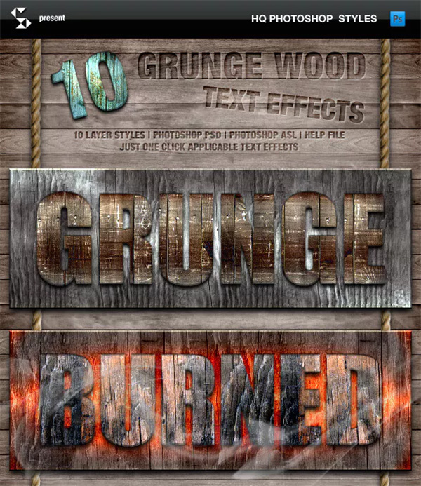 Grunge Wood Styles and Wooden Text Effects