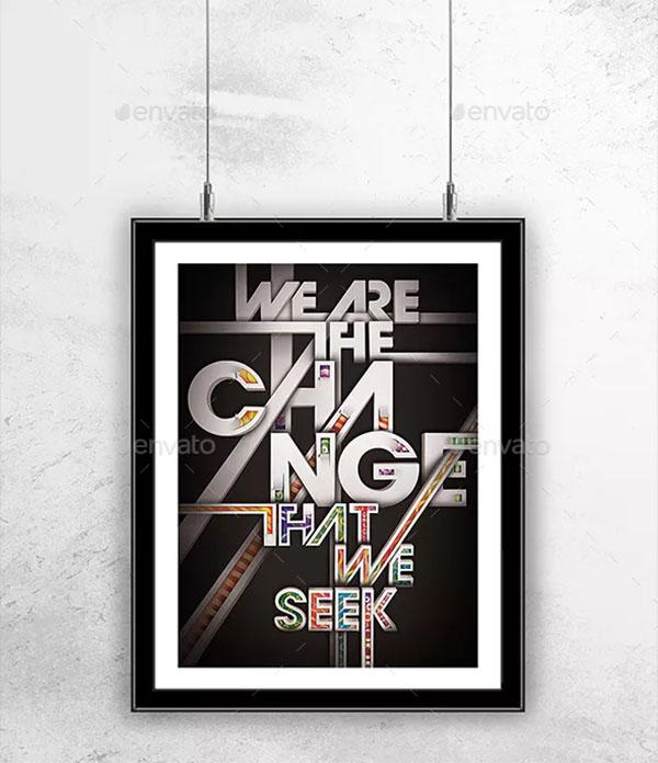 Hanging Poster Frame Mockup Design