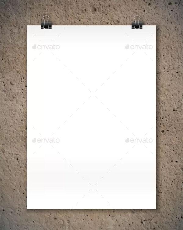 Hanging White Poster Mockup