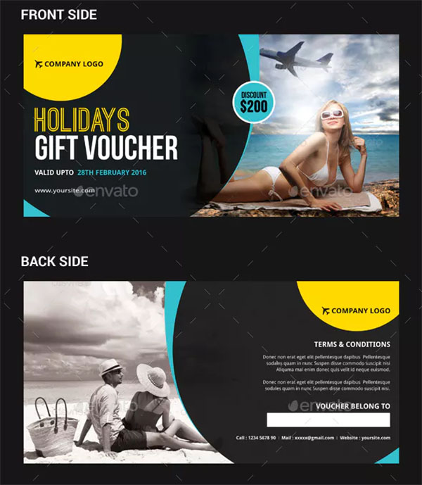 Holidays Travel Gift Voucher Templates