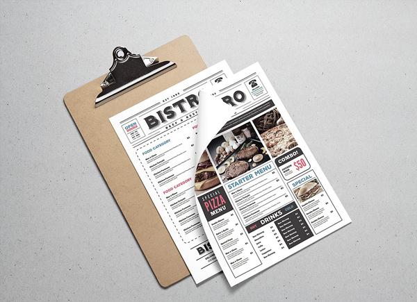 Newspaper Style Food Menu Flyer