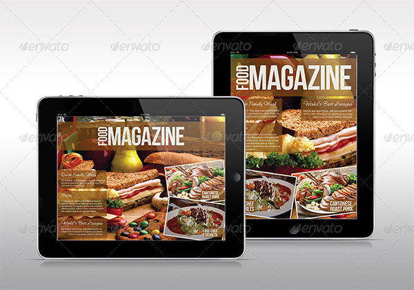 Personal Tablet Food Magazine Template