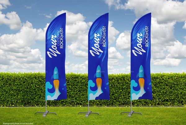 Photorealistic Beach Feather Flags Mockup