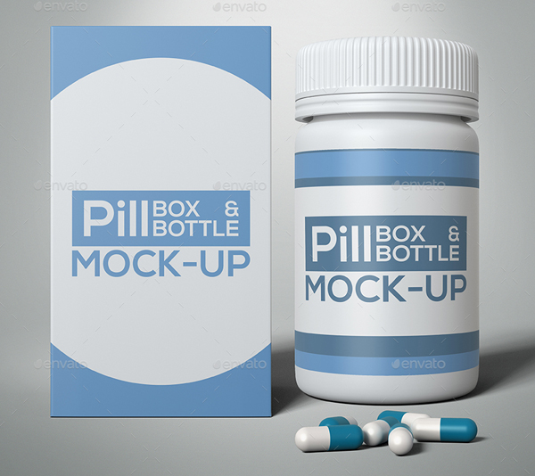Pill Box and Bottle Mock-Up Template