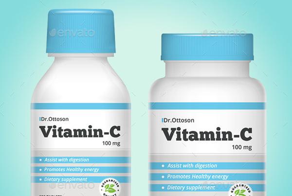 Pills and Vitamin Bottle Mockup