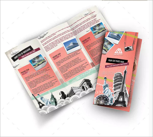 Retro Style Brochure For Travel Company Template