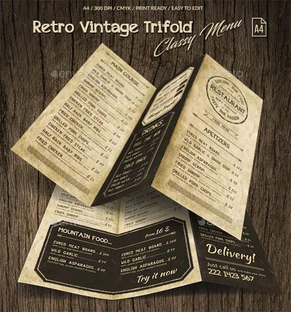 Retro Vintage Trifold Classy Menu Template