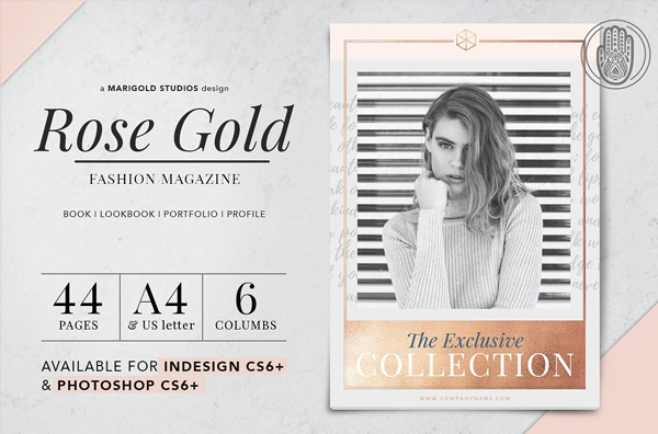 Rose Gold Fashion Magazine Cover Template
