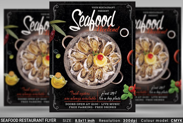 Seafood Restaurant Flyer Template
