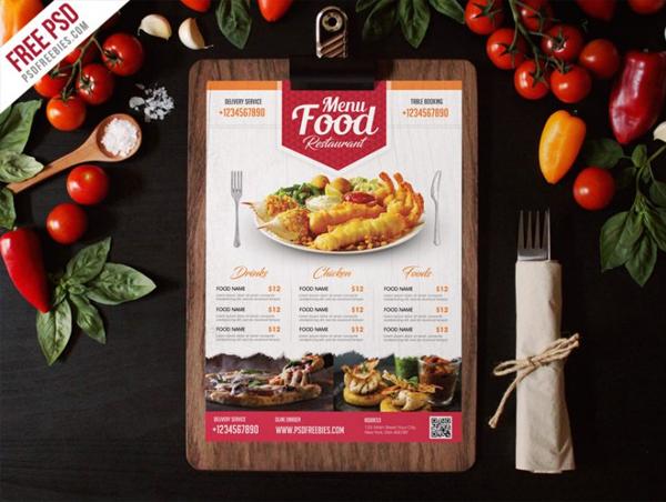 Simple Restaurant Food Menu Flyer Template