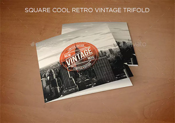 Square Cool Retro Vintage Trifold Template