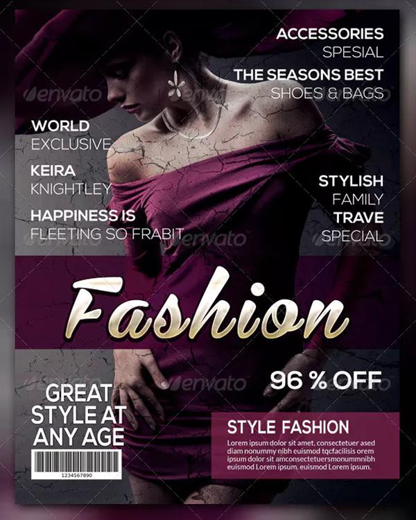 Stylish Fashion Magazine Cover Template
