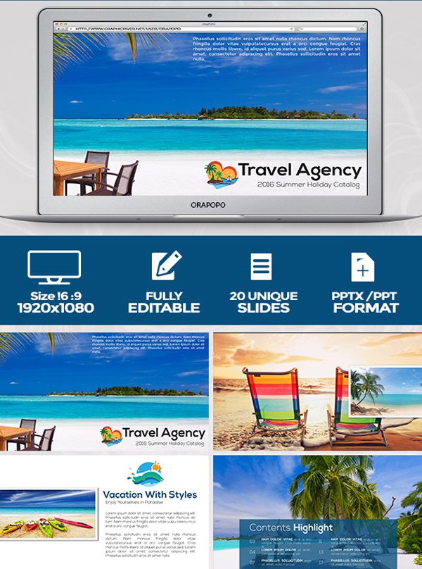 Summer Holidays Travel Agency Presentation Template