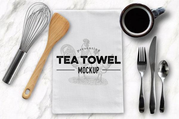 Tea Dish Towel Mockup