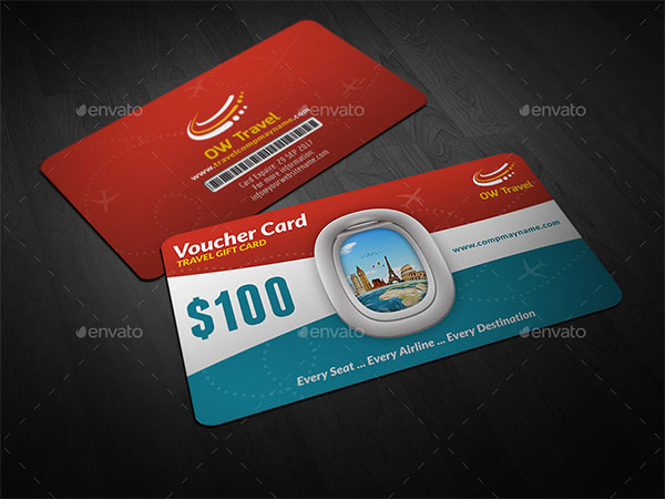 Travel Gift Voucher Card Template