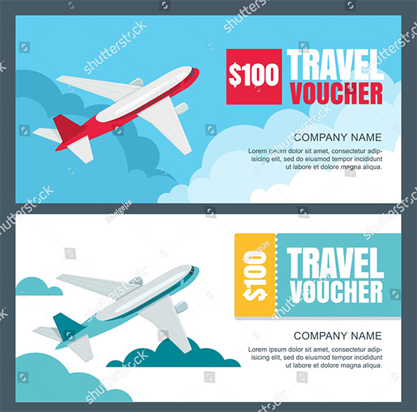 Vector Gift Travel Voucher Template Design