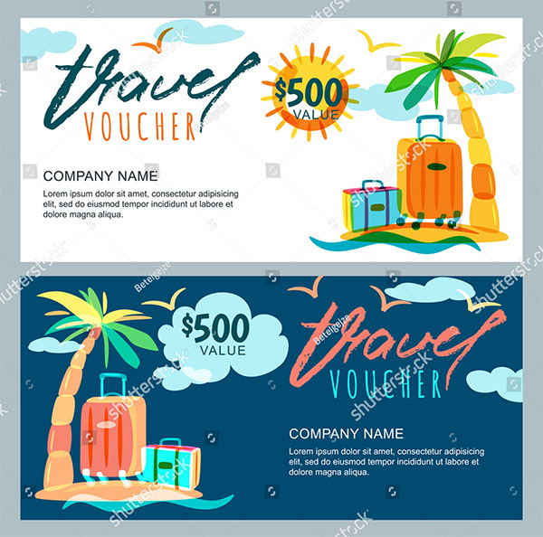 Vector Gift Travel Voucher Template