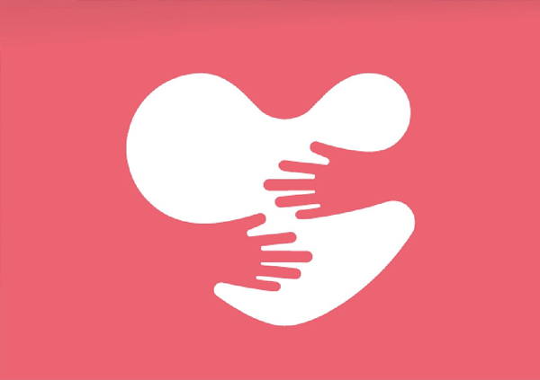Vector Heart and Hands Logo Template