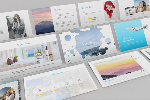 Watercolor Travel Agency Keynote PowerPoint Template