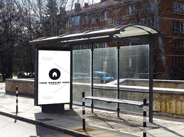 Beautiful Bus Stop Mockup