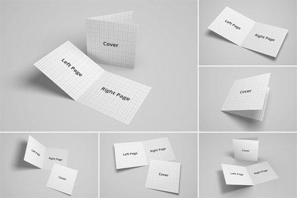 Bifold Brochure and Greeting Card Mockup