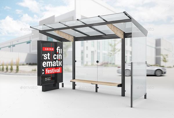 Bus Stop Lightbox Mockup