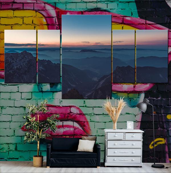 Canvas Mockup with Minimalist Furniture