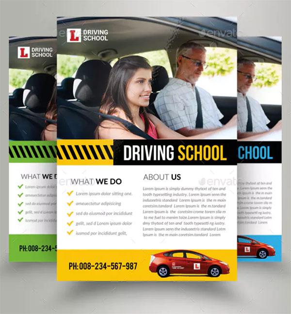 Car Driving School Flyer Template