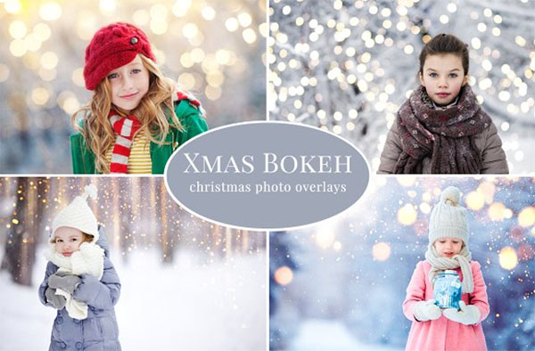 Christmas Bokeh Photo Overlays