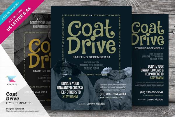 Coat Drive Book Promotion Flyer Templates