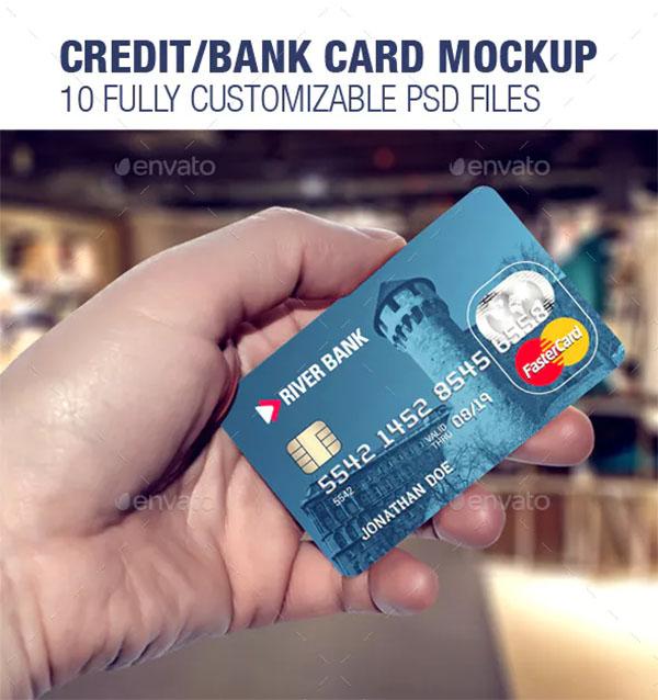 Credit Bank Card Template & Mockup