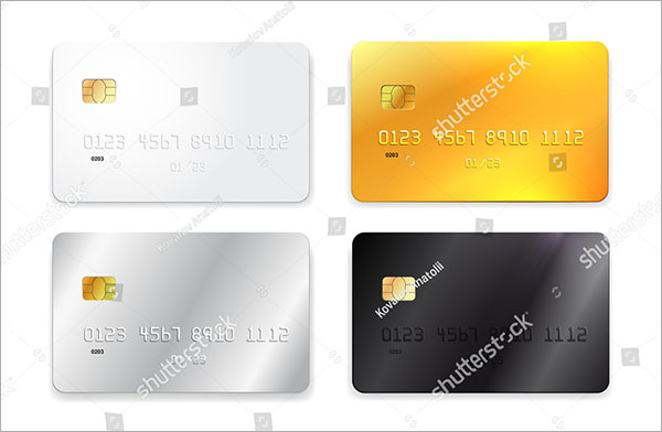 Credit Card white Gold Silver Mockup