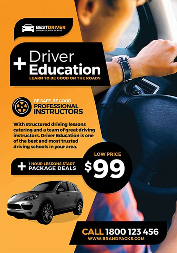 Driving School Free Flyer Template