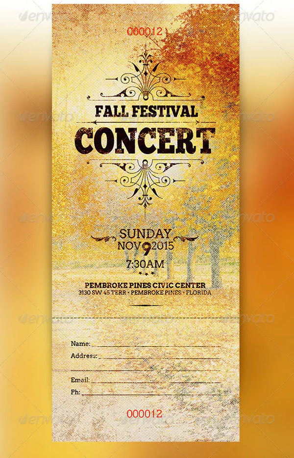 Fall Festival Concert Ticket Template