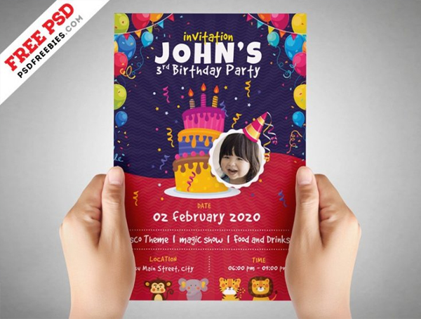 Free Kids Birthday Party Flyer PSD Template