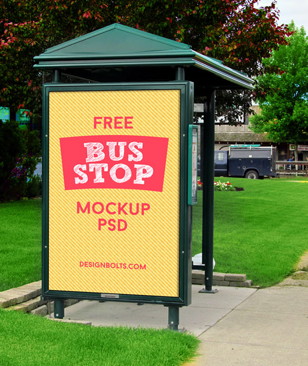 Free Outdoor Advertising Bus Stop Mockup PSD Files