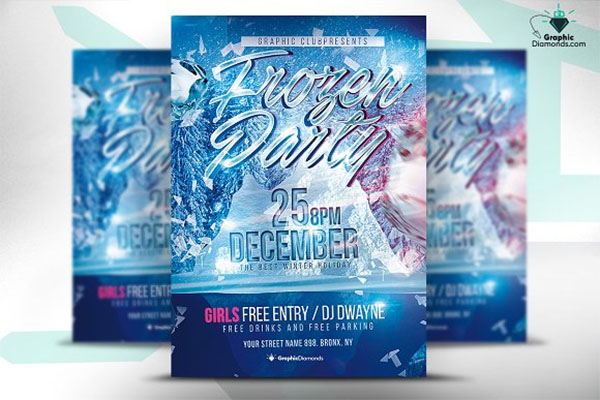 Frozen Party PSD Flyer