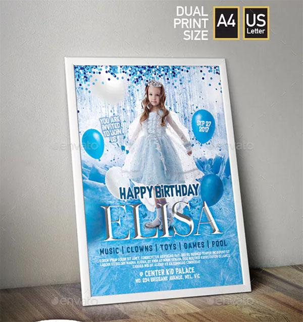 Frozen Them and Kid Birthday Invitation Flyer