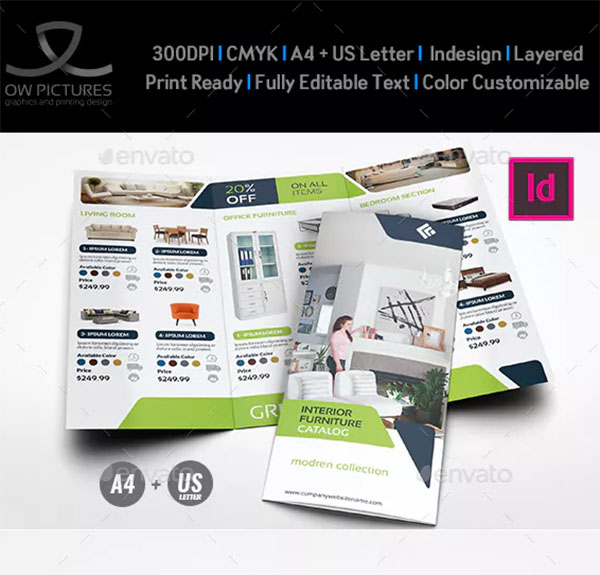 Furniture Products Catalog Tri-Fold Brochure Template