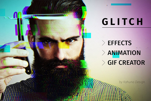 Glitch Effect with GIF Animation Photoshop Action