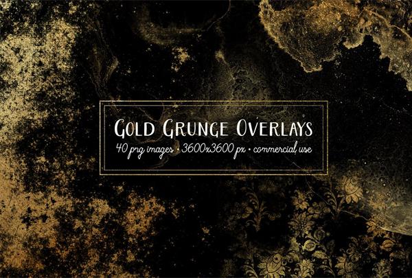 Gold Grunge Overlays