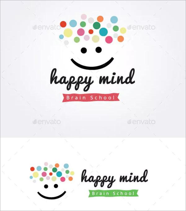 Happy Mind Brain School Logo Template