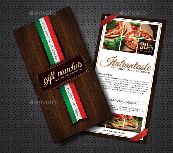 Italian Restaurant Gift Voucher Design