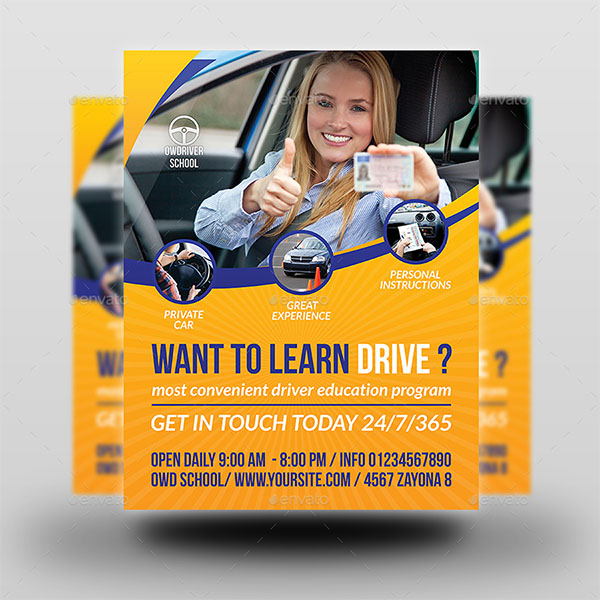 Latest Driving School Flyer Template