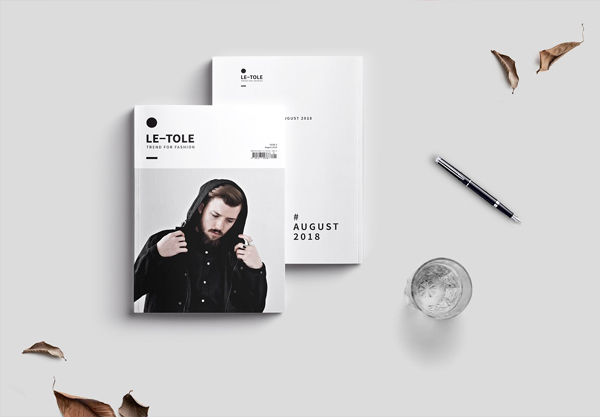 Men's Fashion Clean InDesign Magazine Set Template